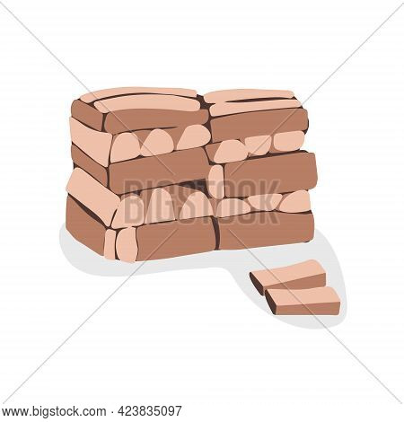 Firewood Pile. Carefully Stacked Wooden Firewood. Vector Flat Illustration