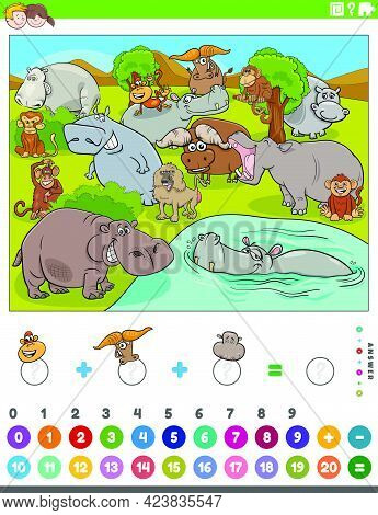 Cartoon Illustration Of Educational Mathematical Counting And Addition Game For Children With Hippop