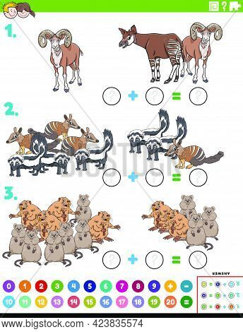 Cartoon Illustration Of Educational Mathematical Addition Puzzle Task With Wild Animal Characters