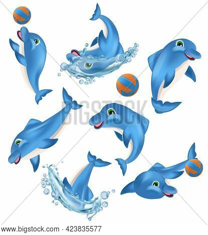 Funny Dolphin On Different Pose. Cute Dolphin Cartoon Character. Sea Creature Icon. Vector Illustrat