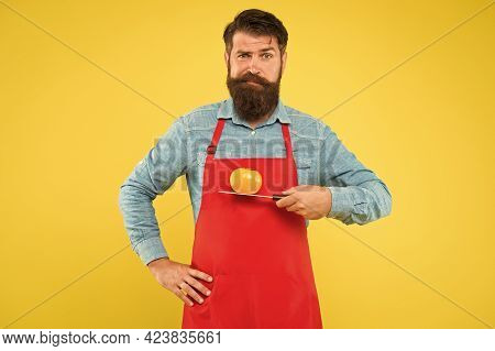 Diet Well As Your Body Deserves It. Bearded Man Hold Tomato On Knife. Vegetarian Diet And Dieting. C