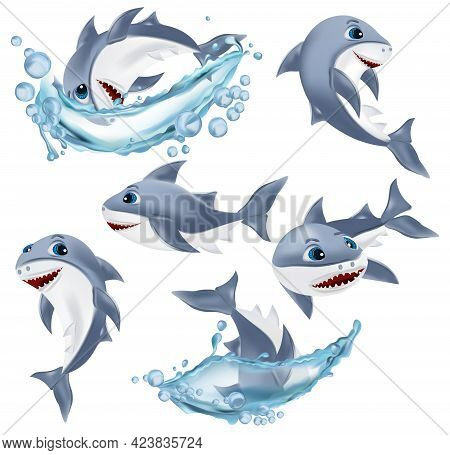 Shark On Different Pose. Cute Shark Cartoon Character. Shark With Open Mouth. Sea Creature Icon. Vec