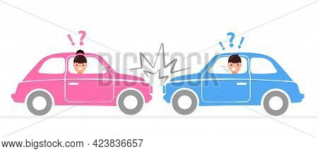 Car Accident. Damaged Autos. Man And Woman Are Angry And Scared. Automobile Damage And Crash On Road