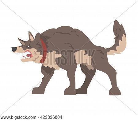 Angry Furious Dog Baring Its Teeth Vector Illustration