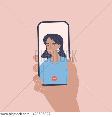 Incoming Call On Phone Screen. Video Chat. Calling Service. Vector