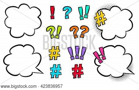 Set Of Bright Punctuation Marks In Comic Style With Cloud And Speech Bubble. Pop Art Question Mark,