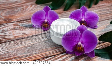 Jar Of Natural Cream On Wooden Background. Beauty And Health Concept. Natural Cosmetics. Selective F