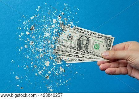 Devaluation Of Money. Printing Money Leads To Inflation. Decrease In The Value Of The American Curre