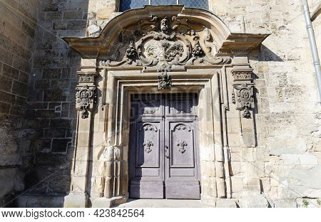 The Doors Of Hotel Dieu Saint-nicolas . It Is Medieval Hospital, Founded By Philippe Auguste And Reb