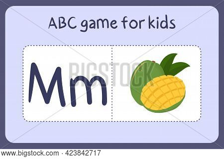 Kid Alphabet Mini Games In Cartoon Style With Letter M - Mango. Vector Illustration For Game Design