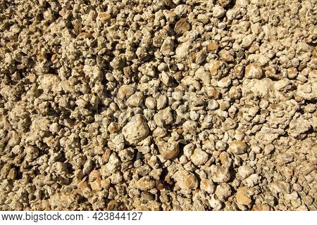 Ready To Use The Construction Mixture In The Form Of Stones Mixed With Concrete Solution.