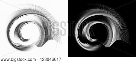 Monochrome Abstract Shells Are Made Of Arcuate Elements And Are Located On White And Black Backgroun