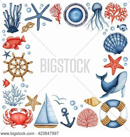 Watercolor Marine Frame. Sea Life, Travel. Ocean Animals, Plant, Sailboat Equipment. Hand Drawn Seas