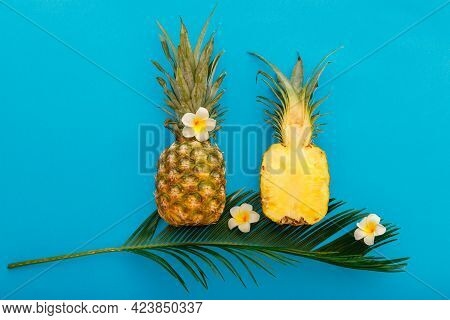 Pineapples Whole Tropical Summer Pineapples Fruits And Sliced Pineapple Halves With Tropical Plumeri