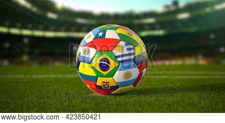 Soccer Football ball with flags of south america countries on the grass of football stadium. America championship 2021. 3d illustration