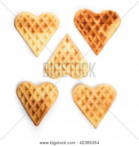 Five Heart Shaped Waffles