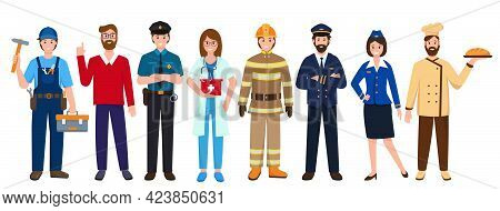 Group Of People Various Occupations Or Professions. Worlds Most In Demand Professions. Set Of Charac