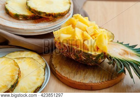 Chopped Pineapple Salad In Half Pineapple. Fresh Delicious Pineapple Cut Into Pieces. Tasty Summer P