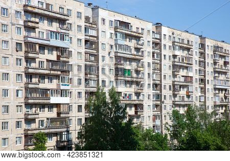 Soviet Apartment Building Against Blue Sky. Day.