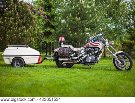 Poland, Bydgoszcz - Jun 03, 2021: Honda Shadow Vt-1100c 1988r, Chopper Motorcycle With A Caravan.