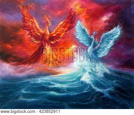 Original Abstract Oil Painting Showing Mythology Phoenix  And Spiritual Swan From Waves In Ocean Or