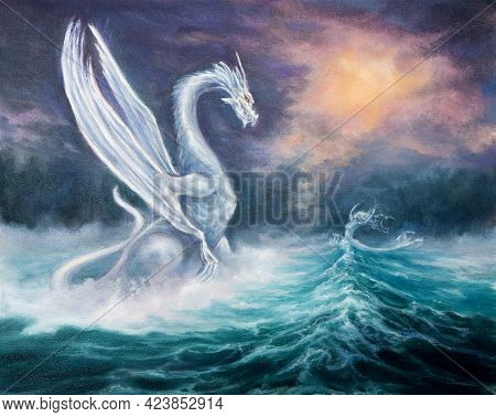Original Abstract Oil Painting Showing Mighty Dragon And Spiritual  Woman  From Waves In  Ocean Or S