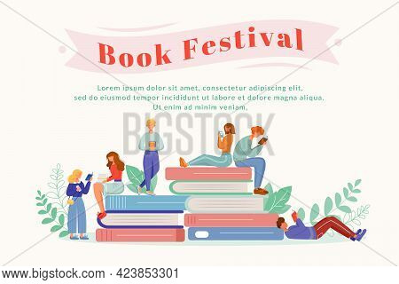 Book Festival Flat Poster Vector Template. Writer Fest. Library Anniversary. Books Fair. Literary Ho