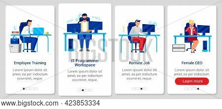 Corporate Lifestyle Onboarding Mobile App Screen Vector Template. Walkthrough Website Steps With Fla