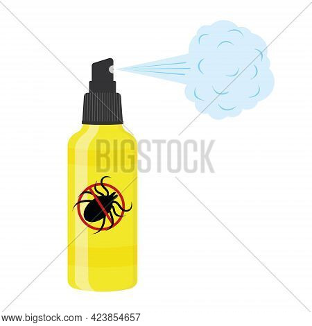 Insect Repellent Lotion With Spray Steam And Killing Mite Sign. Anti Tick Agent Isolated On White Ba