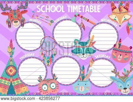 School Timetable Schedule With Cartoon Indian Animals. Vector Student Education Planner, Study Plan