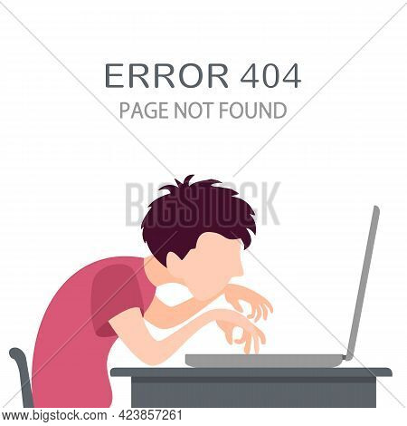 Guy Is Working On The Computer Or Laptop And Sees Error 404. Page Not Found. Boy Study Or Play A Com