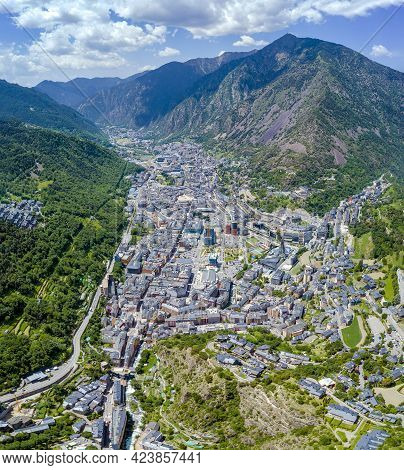Panoramic Aerial View Of Andorra La Vieja Located In The Pyrenees, At 1022 Meters, It Is The Capital