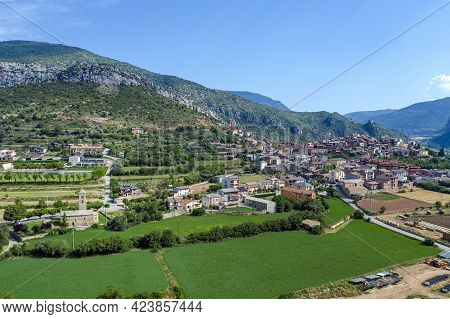 Panoramic Aerial View Of Coll De Nargo, A Spanish Municipality In The Alto Urgel Region, In The Prov