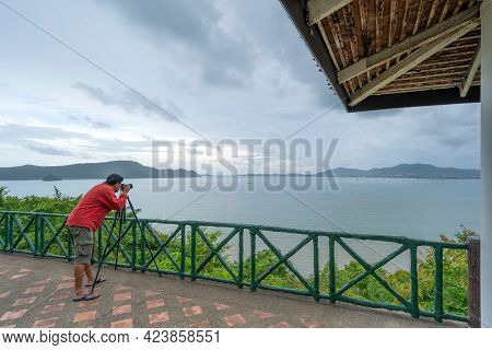 Professional Man Setting Mirrorless Camera Taking Picture Landscape Nature View At Kaokad View Point