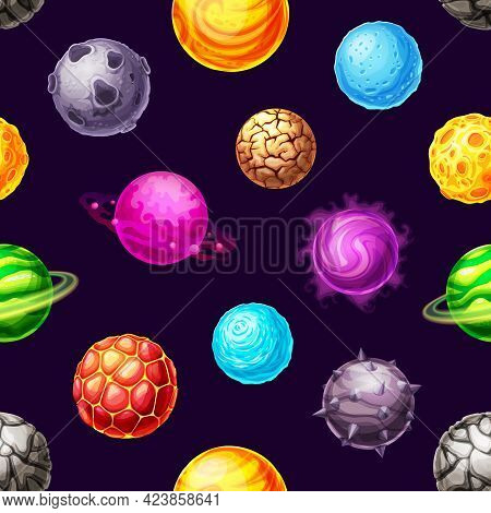 Cartoon Galaxy Planets And Space Stars Vector Seamless Pattern. Fantasy Universe Background Of Space