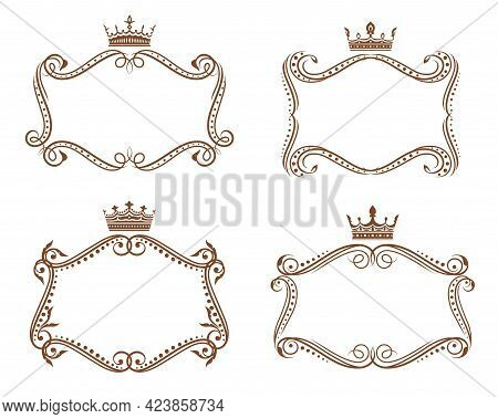 Royal Heraldic Frames And Borders With Crowns And Floral Elements, Vector Heraldry. Vintage Vignette