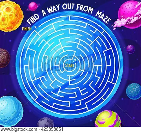 Space Labyrinth Maze Game With Planets And Galaxy. Kids Vector Boardgame With Meteors In Deep Cosmos