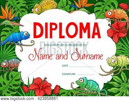 Kids Education Diploma With Cartoon Chameleons In Tropical Jungle. Vector Certificate Of School Grad