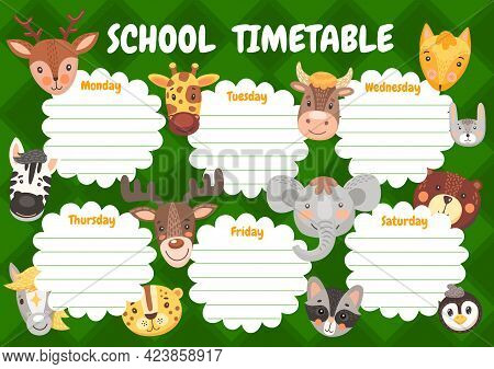 Cartoon Cute Animals, Kids Education Timetable Schedule. Vector School Planner, Weekly Time Table Wi