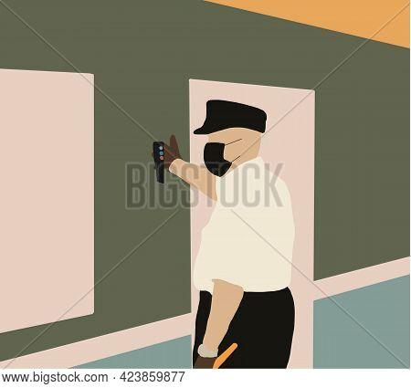 Duty Railroader, Officer In Face Mask To Prevent Coronavirus, Standing In Subway Platform, Employee,