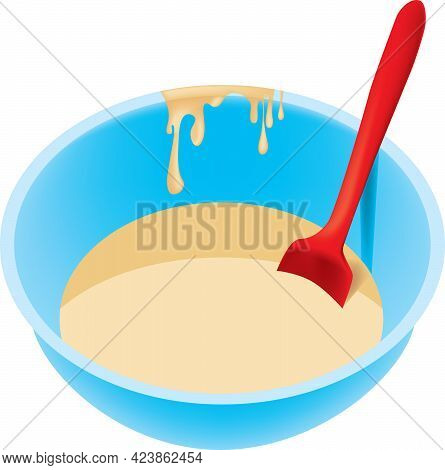 Batter For Making Muffins In A Cooking Bowl And Baking Spoon.