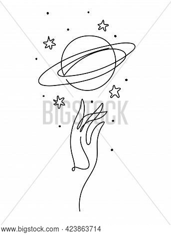 Hand And Planet Saturn With Rings, Aesthetic Line Drawing, Space Icon, Vintage Tattoo For Witch, Ast