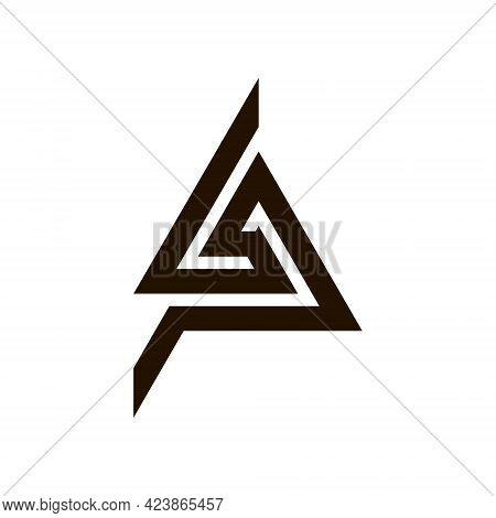 Initial Letter Lp Triangle Logo In Flat Design Monogram Illustration For Business, Company, Marketin