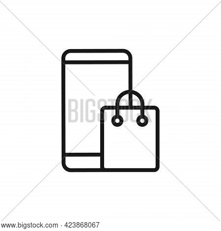 Shopping Bag with mobile phone icon. Shopping Bag icon. Shopping icon. Shopping Bag vector icon. Shopping Bag icon set. Online Shop icon. Shopping Bag icon logo. Shopping Bag with mobile phone vector icon design for web, logo, sign, symbol, app