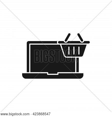Shopping Cart with Laptop icon. Shopping Cart icon. Shopping icon. Shopping Cart with Laptop icon vector. Shopping cart icon set. Online Shop icon. Shopping Cart icon. Shopping Cart with Laptop design for website, icon, logo, sign, symbol, app