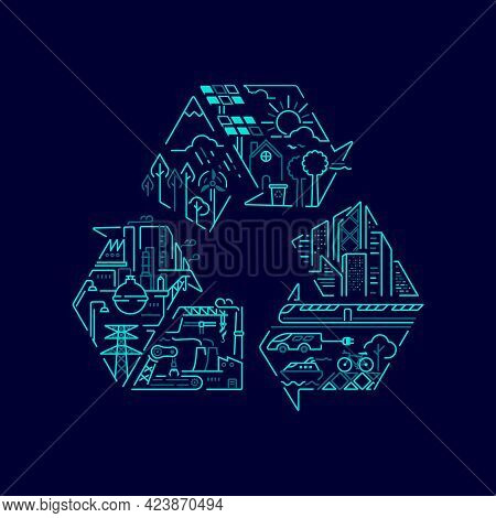 Concept Of Environment Conservation Or Ecology System, Graphic Of Recycle Symbol With Sustainable Me