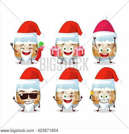 Santa Claus Emoticons With Rum Drink Cartoon Character