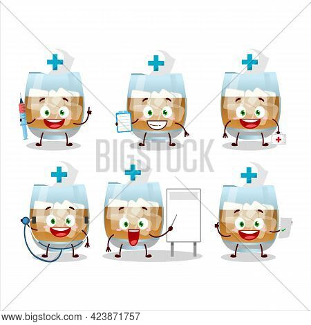 Doctor Profession Emoticon With Rum Drink Cartoon Character