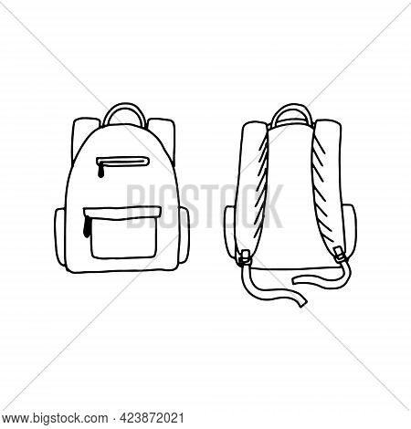Hand Drawn Doodle Sketch Style Vector Illustration Of School Backpack. Front And Back. Isolated Blac