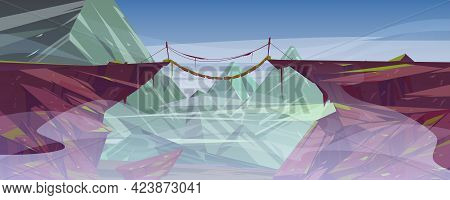 Suspended Rope Bridge Hang Above Foggy Mountain Cliff, Scenery Rocky Landscape Background. Panoramic